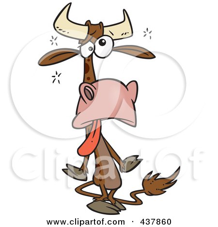 Royalty-Free (RF) Clip Art Illustration of a Tired Cow by toonaday