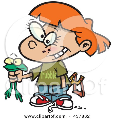 Royalty-Free (RF) Clip Art Illustration of a Cartoon Tomboy Girl Holding A Frog by toonaday