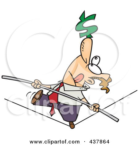 Royalty-Free (RF) Clip Art Illustration of a Cartoon Businessman Trying To Maintain Balanced Budget On A Tight Rope by toonaday