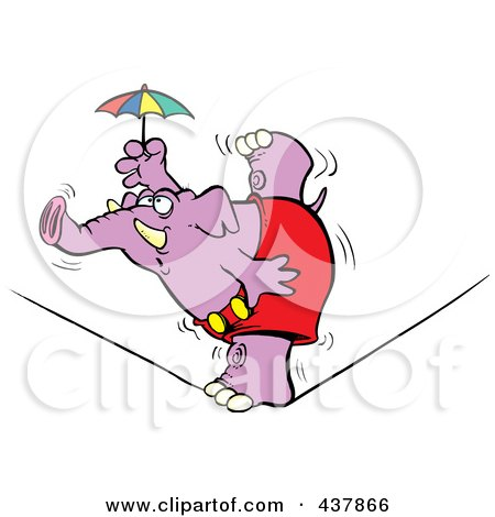 Royalty-Free (RF) Clip Art Illustration of a Purple Elephant Balanced On One Foot On A Tight Rope by toonaday