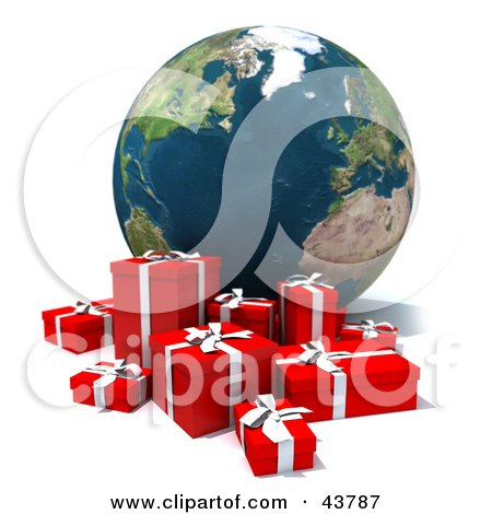 Clipart Illustration of a 3d Globe Featuring The Atlantic, With A Group Of Christmas Presents by Frank Boston