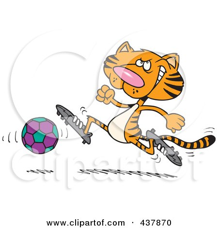 Royalty-Free (RF) Clip Art Illustration of a Tiger Playing Soccer by toonaday