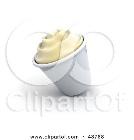 Cup Of 3d Vanilla Ice Cream Or Frozen Yogurt Posters, Art Prints