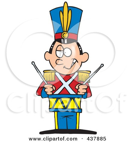 Royalty-Free (RF) Clip Art Illustration of a Tin Soldier Drumming by toonaday