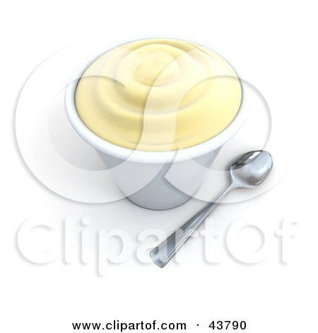 Spoon Beside A 3d Cup Of Vanilla Frozen Yogurt Posters, Art Prints