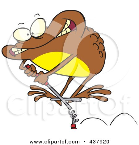 Royalty-Free (RF) Clip Art Illustration of a Brown Toad On A Leap Stick by toonaday