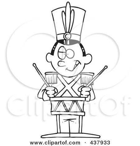 Royalty-Free (RF) Clip Art Illustration of a Black And White Outline Design Of A Tin Soldier Drumming by toonaday