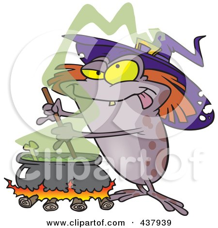 Royalty-Free (RF) Clip Art Illustration of a Witch Toad Mixing Brew by toonaday
