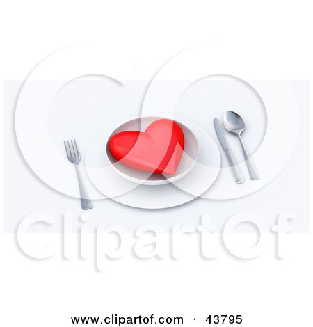 Clipart Illustration of a Red 3d Heart Served On A Plate by Frank Boston