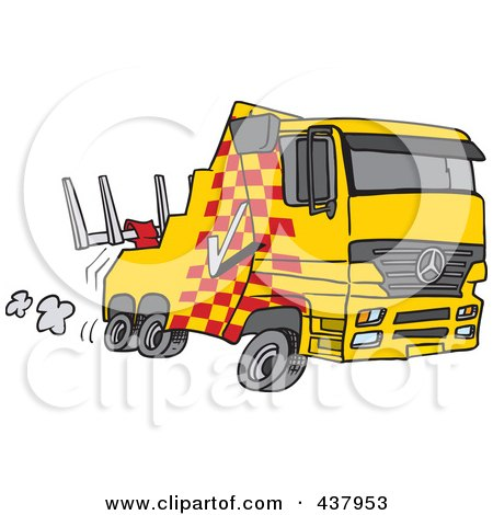 Royalty-Free (RF) Clip Art Illustration of a Cartoon Fast Tow Truck by toonaday