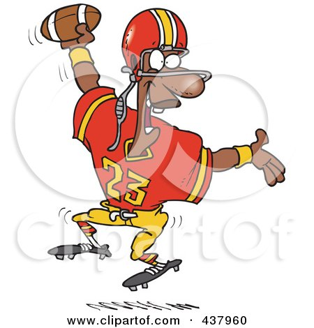 Royalty-Free (RF) Clip Art Illustration of a Black Male Football Player Scoring A Touchdown by toonaday