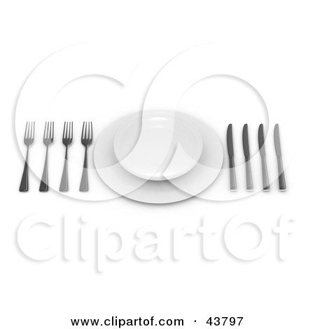Clipart Illustration of a Clean Place Setting With A Plate On A Saucer And Three Forks And Knives by Frank Boston