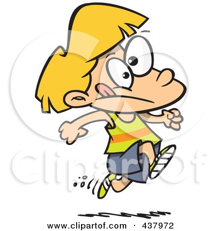 Royalty-free clipart picture of a girl running track, on a white background.