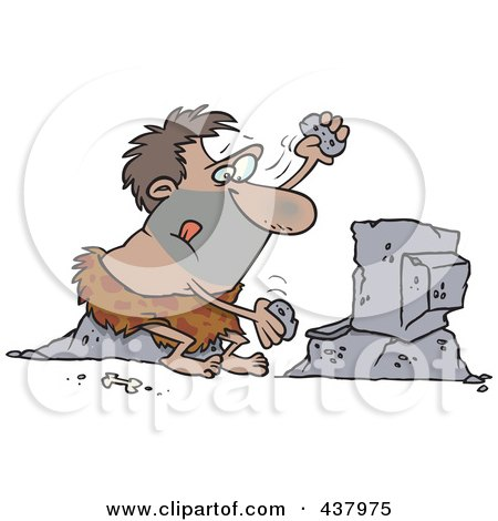 Royalty-Free (RF) Clip Art Illustration of a Caveman Using Stones To Type On A Computer by toonaday