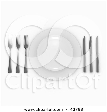 Clipart Illustration of a 3d Three Course Meal Place Setting With Forks, Plates And Knives by Frank Boston