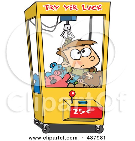 Royalty-Free (RF) Clip Art Illustration of a Cartoon Boy Stuck In A Toy Machine by toonaday
