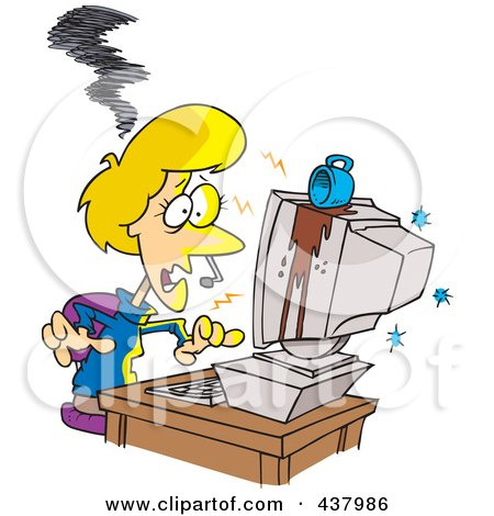 Royalty-Free (RF) Clip Art Illustration of a Coffee Spilling On A Woman's Computer by toonaday
