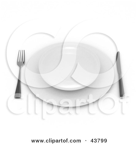 Clipart Illustration of a Fork And Knife With Plates On A Table by Frank Boston