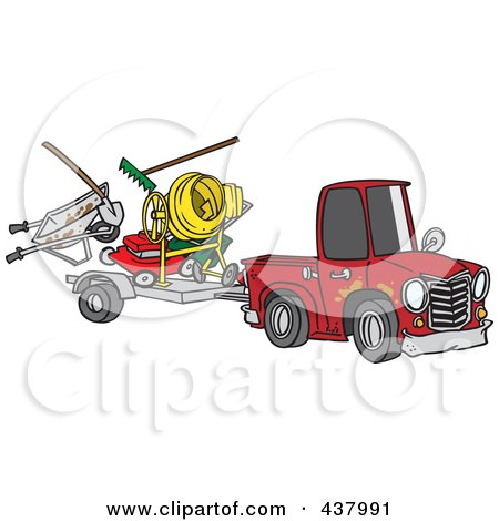Royalty-Free (RF) Clip Art Illustration of a Cartoon Truck Pulling A Trailer With Landscape And Concrete Equipment by toonaday