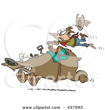 Royalty-Free (RF) Clip Art Illustration of a Tough Rodeo Cowboy Riding A Bear by toonaday
