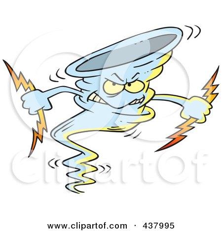 Royalty-Free (RF) Clip Art Illustration of a Tornado Holding Lightning Bolts by toonaday