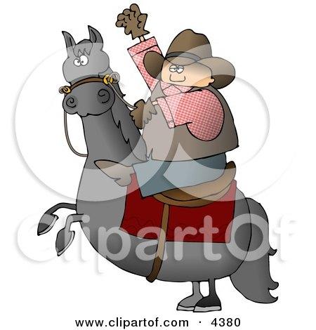 Cowboy Riding a Bucking Bronco/Horse Clipart by djart