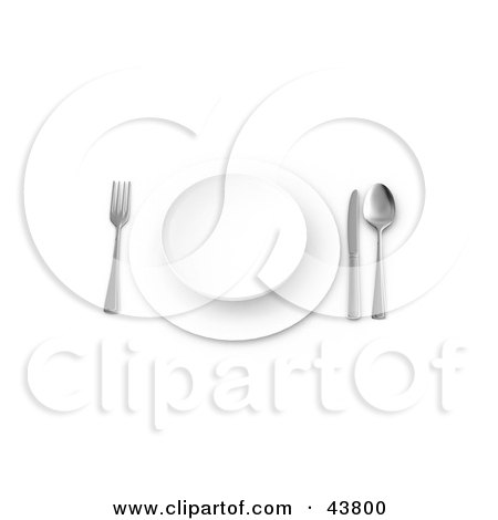 Clipart Illustration of a Table Place Setting With A Plate, Saucer, Knife, Spoon And Fork by Frank Boston