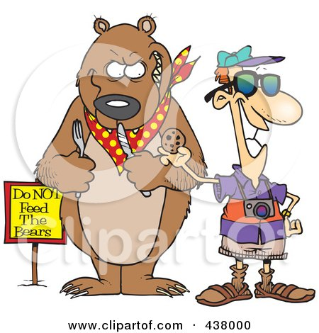 Royalty-Free (RF) Clip Art Illustration of a Cartoon Male Tourist Feeding A Cookie To A Bear For A Photo Op by toonaday