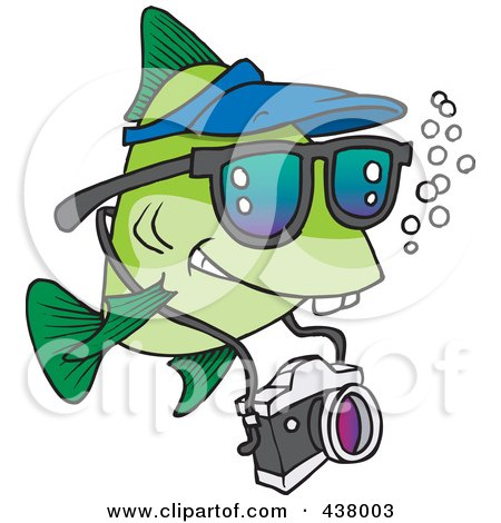 Royalty-Free (RF) Clip Art Illustration of a Cartoon Fish Tourist Swimming With A Camera by toonaday