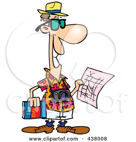 Royalty-Free (RF) Clip Art Illustration of a Cartoon Male Tourist Holding A Map And Sight Seeing Book by toonaday
