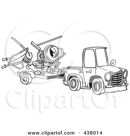 Royalty-Free (RF) Clip Art Illustration of a Cartoon Black And White Outline Design Of A Truck Pulling A Trailer With Landscape And Concrete Equipment by toonaday