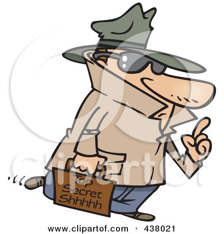 Royalty-Free (RF) Clip Art Illustration of a Spy Carrying Top Secret Information by toonaday