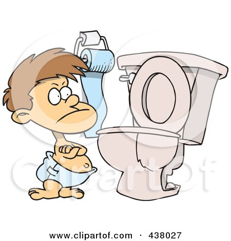 Royalty-Free (RF) Clip Art Illustration of a Stubborn Cartoon Toddler Standing By A Toilet With His Arms Folded by toonaday