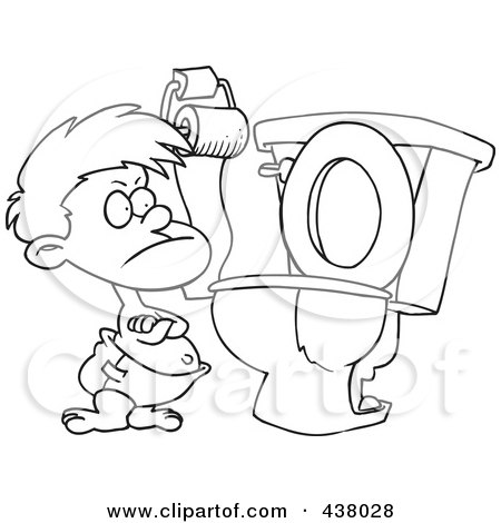 Royalty-Free (RF) Clip Art Illustration of a Cartoon Black And White Outline Design Of A Stubborn Toddler Standing By A Toilet With His Arms Folded by toonaday