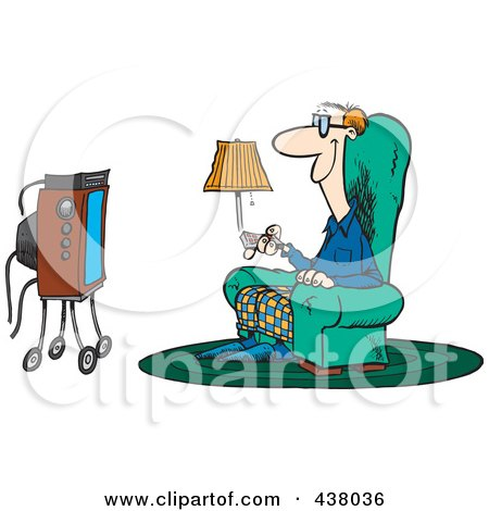Royalty-Free (RF) Clip Art Illustration of a Cartoon Man Sitting In A Chair And Watching Tv by toonaday