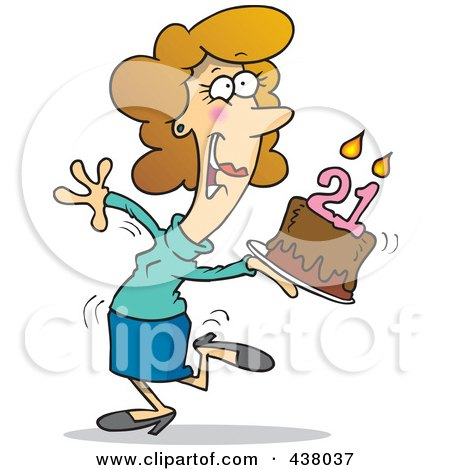 Royalty-Free (RF) Clip Art Illustration of a Cartoon Happy Woman Carrying A Birthday Cake With 21 Candles by toonaday