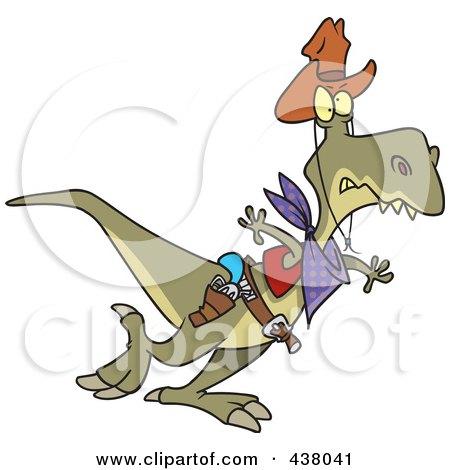Royalty-Free (RF) Clip Art Illustration of a Cartoon Cowboy Tyrannosaurus Rex by toonaday