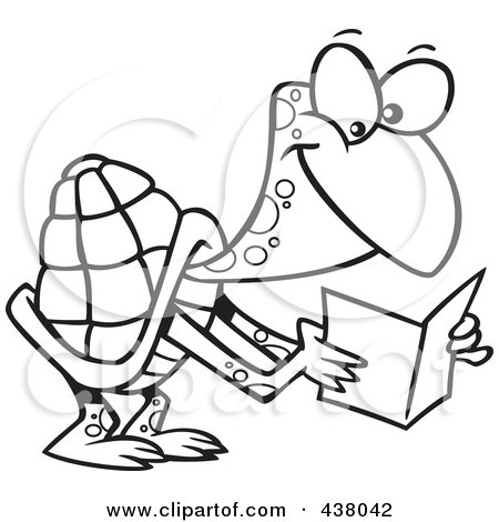 Royalty-Free (RF) Clip Art Illustration of a Cartoon Black And White Outline Design Of A Tortoise Reading A Greeting Card by toonaday