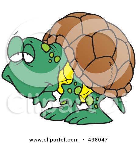 Royalty-Free (RF) Clip Art Illustration of a Cartoon Tired Old Tortoise by toonaday