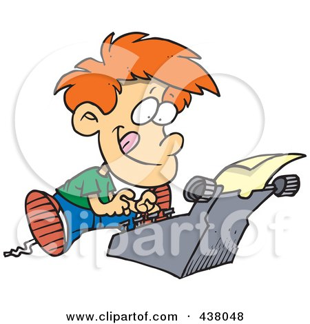 Cartoon  Boy Typing A Story On A Typewriter Posters, Art Prints