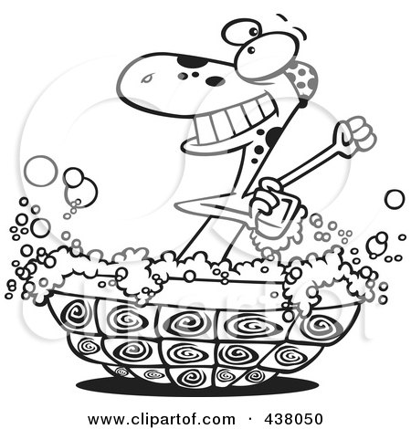 Royalty-Free (RF) Clip Art Illustration of a Cartoon Black And White Outline Design Of A Turtle Bathing In His Shell by toonaday