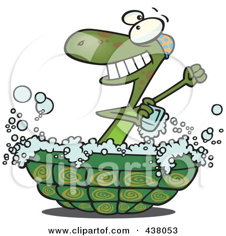 Royalty-Free (RF) Clip Art Illustration of a Cartoon Turtle Bathing In His Shell by toonaday