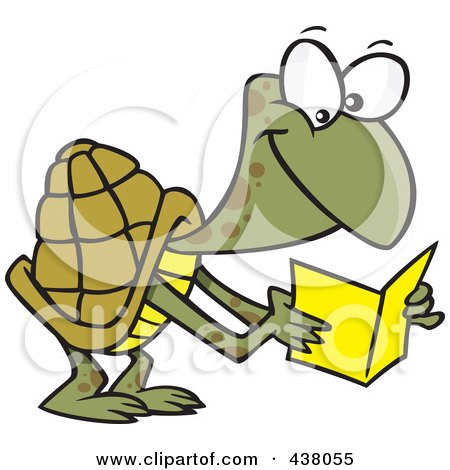 Royalty-Free (RF) Clip Art Illustration of a Cartoon Tortoise Reading A Greeting Card by toonaday