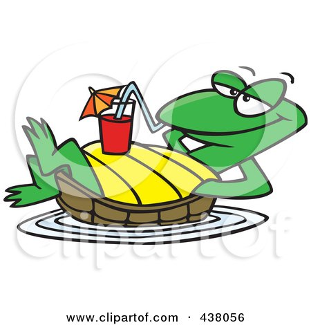 Royalty-Free (RF) Clip Art Illustration of a Cartoon Relaxed Turtle Floating With A Beverage On His Belly by toonaday