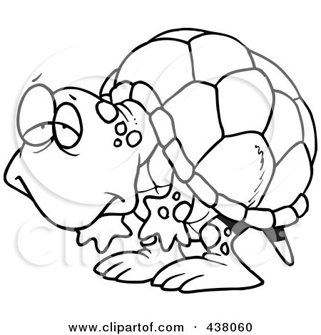 Royalty-Free (RF) Clip Art Illustration of a Cartoon Black And White Outline Design Of A Tired Old Tortoise by toonaday