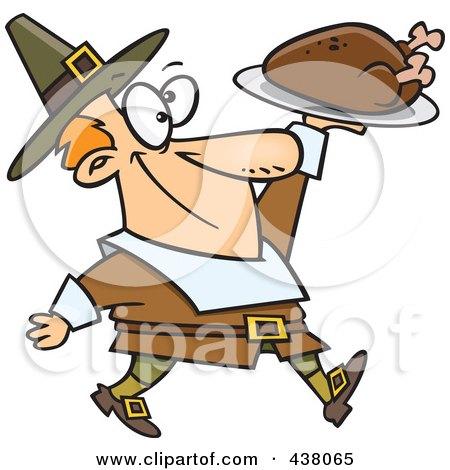 Royalty-Free (RF) Clip Art Illustration of a Cartoon Pilgrim Man Carrying A Roasted Turkey by toonaday