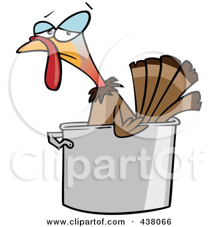 Royalty-Free (RF) Clip Art Illustration of a Cartoon Turkey Bird In A Pot by toonaday