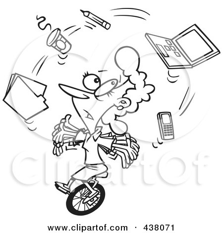 Royalty-Free (RF) Clip Art Illustration of a Cartoon Black And White Outline Design Of A Businesswoman Juggling Office Items On A Unicycle by toonaday