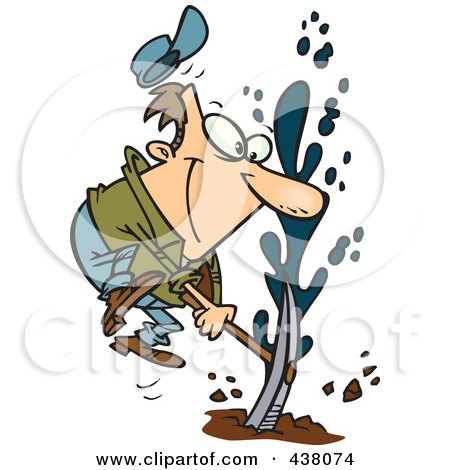 Royalty-Free (RF) Clip Art Illustration of a Cartoon Man Striking Oil by toonaday
