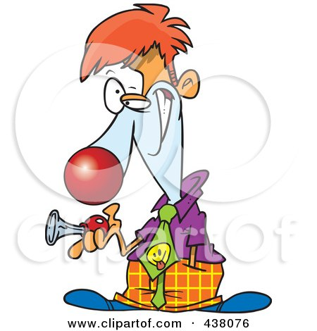 Royalty-Free (RF) Clip Art Illustration of a Cartoon Businessman Clown Holding A Horn by toonaday